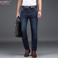 NIGRITY 2020 męskie jeansy Business Casual Straight Cut czarne i niebieskie dżinsy Stretch spodnie dżinsowe spodnie Classic Plus Big Size 28 42