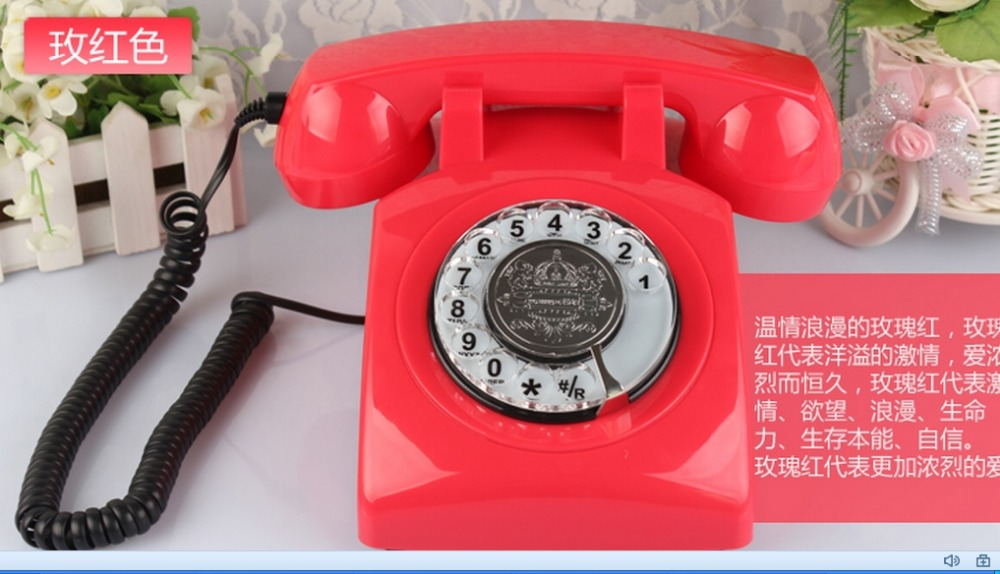 Antique Rotation dial number telephones High antique telephones Europe Home phone landline 6 colors