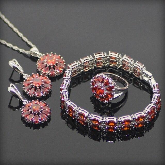 Charming 925 Sterling Silver Bạc Rõ Ràng Red Cubic Zirconia Jewelry Sets Đối Với Phụ Nữ Vòng Tay/Bông Tai/Pendant/Vòng Cổ/nhẫn