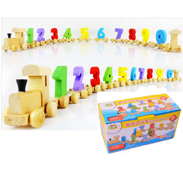 The number of small wooden children educational toys 0-9 train mathematics children's toys birthday gift for children baby toys