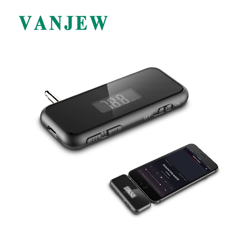 VANJEW T12 FM Transmitter HandsFree Call Mini 3.5mm AUX Wireless Car Radio Music Audio FM Modulator Transmiter FM LCD Display ...
