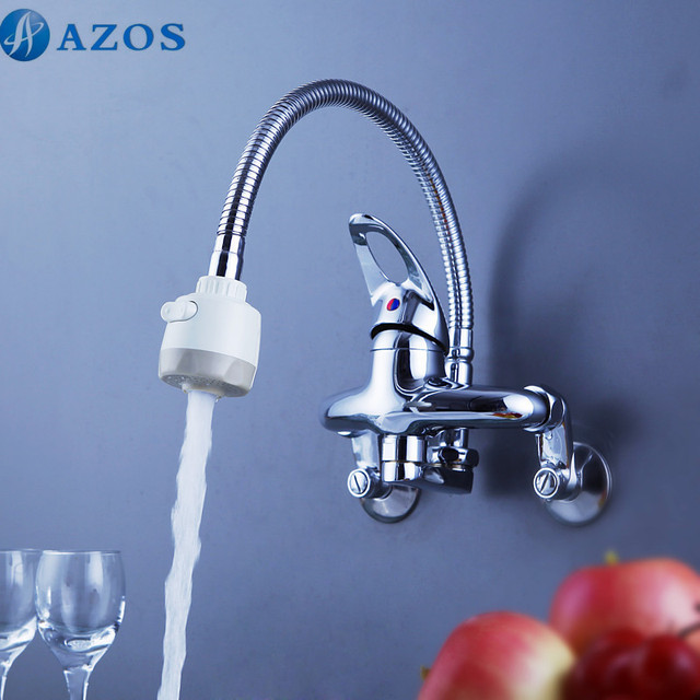 Kitchen Sink Faucets Rotatable Spring Hose Pull Out Down Spray Single Handle Waterfall Wall Mount Chrome Polish Mixer CFLT604