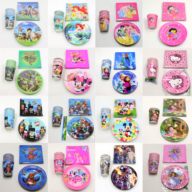60pcslot Pokemon Go Cups Baby Shower Masha Napkins Party Little Pony Plates Kids Favors Mickey Birthday Decoration Supplies
