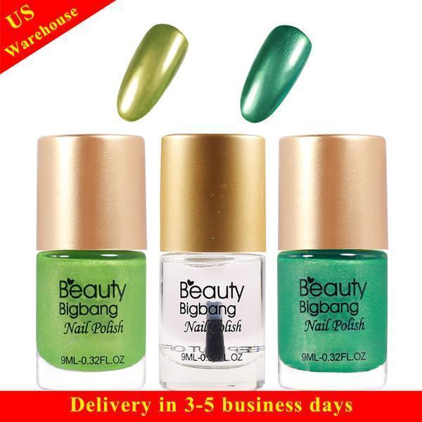 Metallic Nail Varnish Sets: BeautyBigBang 3Pcs Green Metallic Mirror Effect Nail