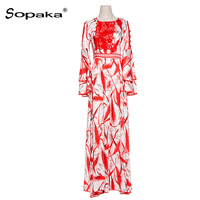 2018 Spring Autumn Red Blue Floral Printing Lace Long Sleeve Party Dress Slim Empire Boho Runway