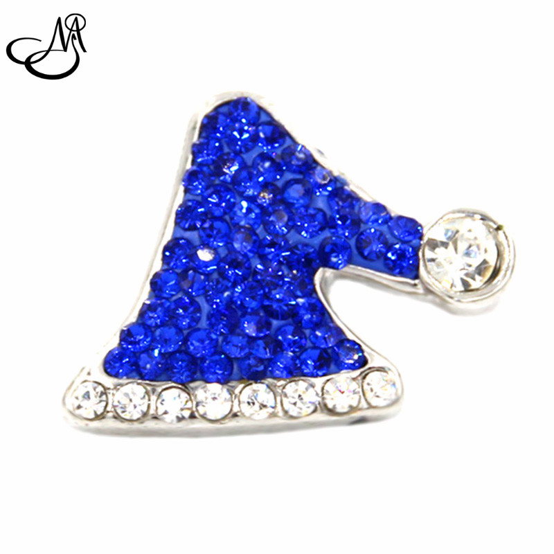 Hot Sale Snap Jewelry Button For Bracelet Necklace Fashion DIY Jewelry blue Crystal Santas Hat Christmas Collection Snaps SB520