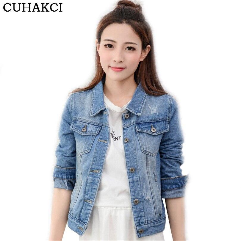 cf43c1094da9d Women Denim Jacket Fashion Casual Slim Fit Jeans Coat Classic Vintage Long  Sleeve Short Jacket Female Patchwork Jean Pocket S240-in Basic Jackets from  ...