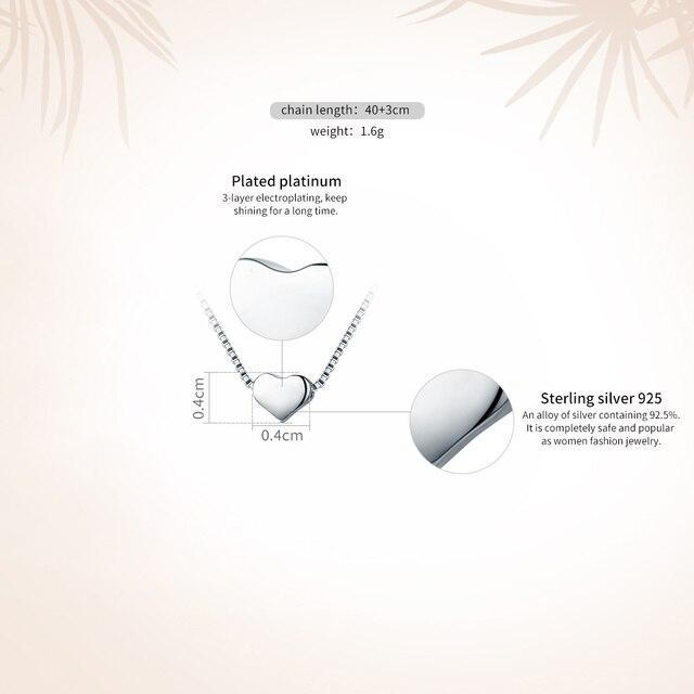 VOROCO Authentic 925 Sterling Silver Minimalista Semplice Dello Scorrevole del Cuore Dei Pendenti Della Collana Per Le Donne di Nozze Gioielli VSN031