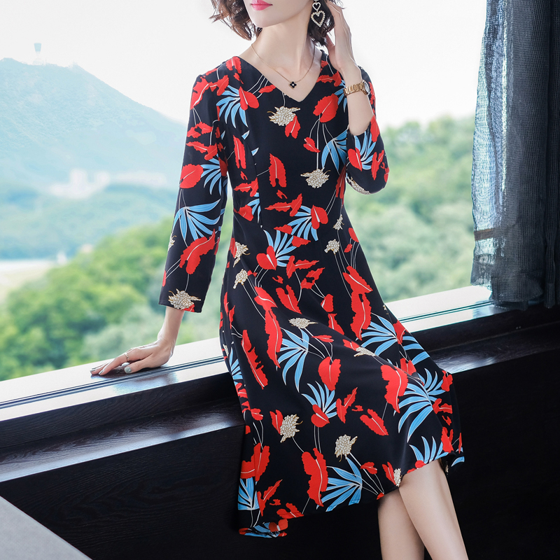 Vestidos vintage 50 s 60 s Print floral dress Women plus size large long sleeve 2019 spring party dresses elegant bodycon slim in Dresses from Women 39 s Clothing