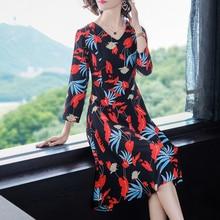 Vestidos vintage 50 s 60 Print floral dress Women plus size large long sleeve 2019 spring party dresses elegant bodycon slim