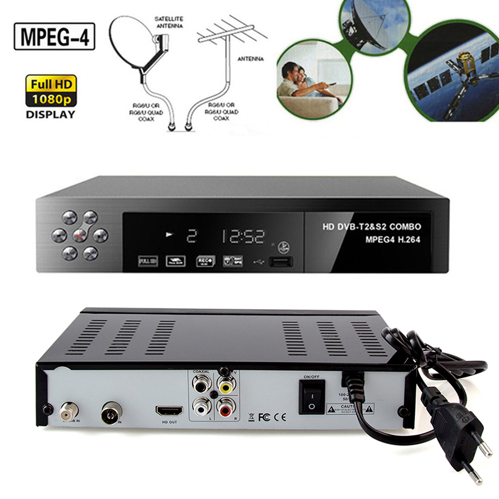 Nave de RU ES receptor de satélite Digital HD DVB T2 + S2 sintonizador de TV por cobrar MPEG4 DVB-T2 receptor de TV T2 Tuner bisskey