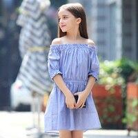 십대 여자 드레스 패션 오프 숄더 스트라이프 여름 키즈 소녀 공주 파티 드레스 6 7 8 9 10 11 12 13 14 15 년 이전