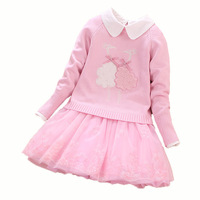 High grade Girls Clothing sets New Children cotton Sweater+Dress 2Pcs Suit for girl birthday party Kids costumes 6 8 10 12 Years