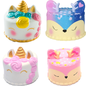 coloful jumbo Deer Cake Squishy slow rising antistress toy stress relief toy for children boys girls adults autism squeeze toy(China)