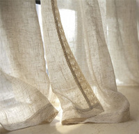 Natural Nostalgic Linen Tulle Curtains Flax Material Wire Netting Gauze Sitting Room Balcony Window Shade Home