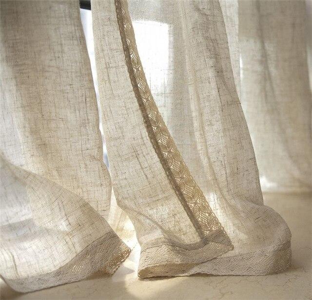 nostlgico natural lino tul cortinas lino material alambre gasa saln balcn ventana sombras hogar cortinas - Cortinas Lino