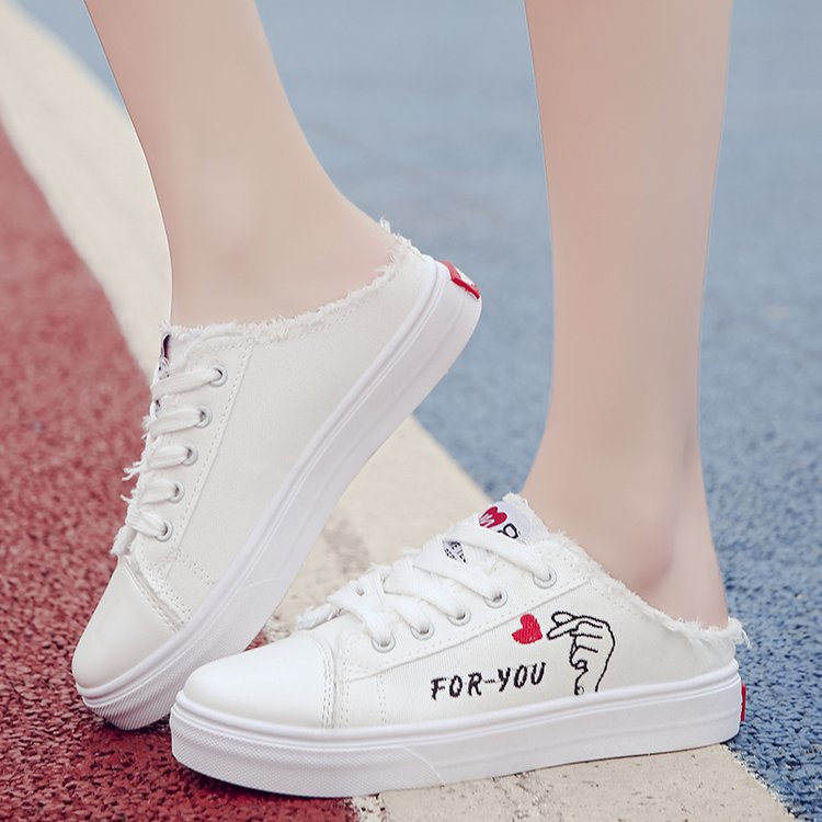 2019 Canvas Shoes Women's Flat Bottom Breathable White Flat Shoes Lace Casual Round Toe Zapatos Mujer  Harajuku Shoes