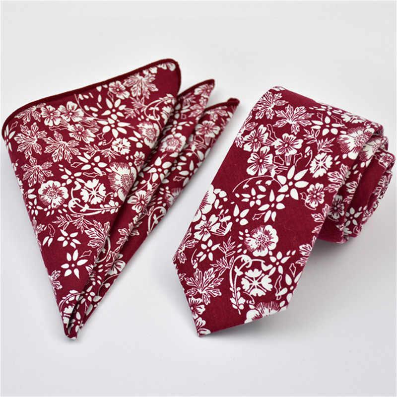 Scst ماركة gravata أحمر الأزهار الطباعة الخضراء 6 سنتيمتر skinny التعادل القطن العلاقات للرجال مع مباراة جيب مربع 2 قطع تعيين CR053