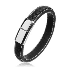 LOULEUR Classic Men Leather Bracelet Punk Handmade Braided Stainless Steel Magnetic Clasps Wristband Jewelry