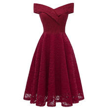 Hot Selling 2019 Explosion Models European and American Womens  Deep Lace Sexy Retro Dress Vintage Off the Shoulder