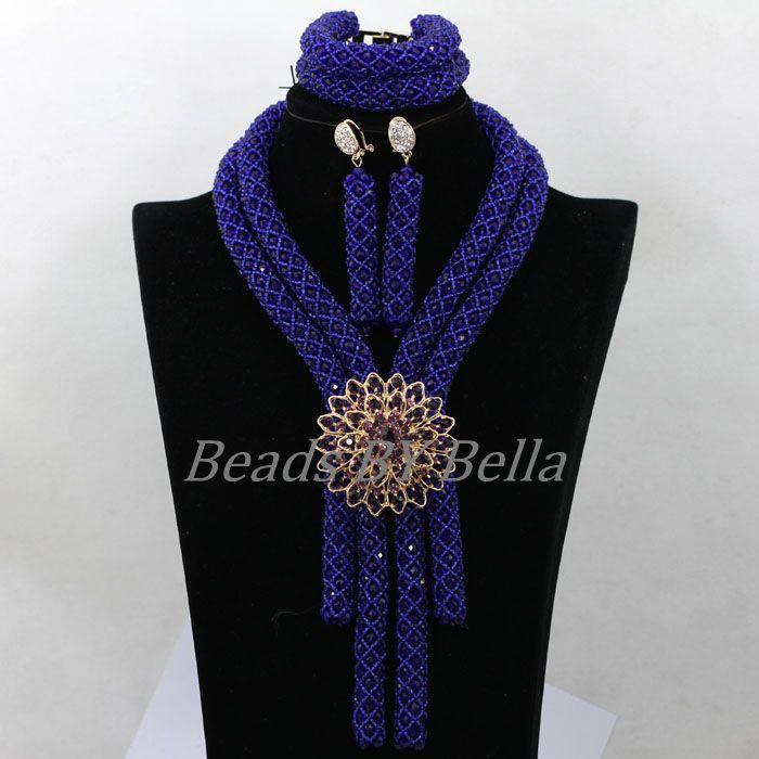 Donne Costume Royal Blue Cristallo Della Treccia Nigeriano Collane di Perline Africani Beads Monili di Nozze Insieme Libero di trasporto ABK060Donne Costume Royal Blue Cristallo Della Treccia Nigeriano Collane di Perline Africani Beads Monili di Nozze Insieme Libero di trasporto ABK060