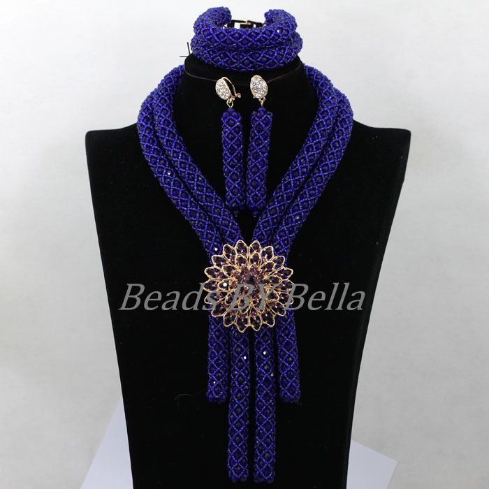 Women Costume Royal Blue Crystal Braid Nigerian Beaded Necklaces Sets African Wedding Beads Jewelry Set Free Shipping ABK060 classic royal blue african costume beaded jewelry set handmade 3 layers nigerian beads wedding jewellry set free shipping 10057