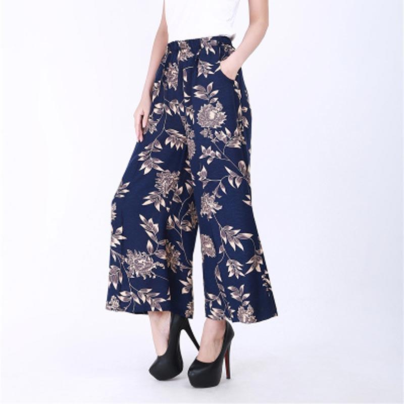 Mujeres verano algodón y lino Pantalón ancho pantalones big yardas sueltos pantalones  de moda culottes cintura elástica femenino pantalones Casuales b7383a411a91