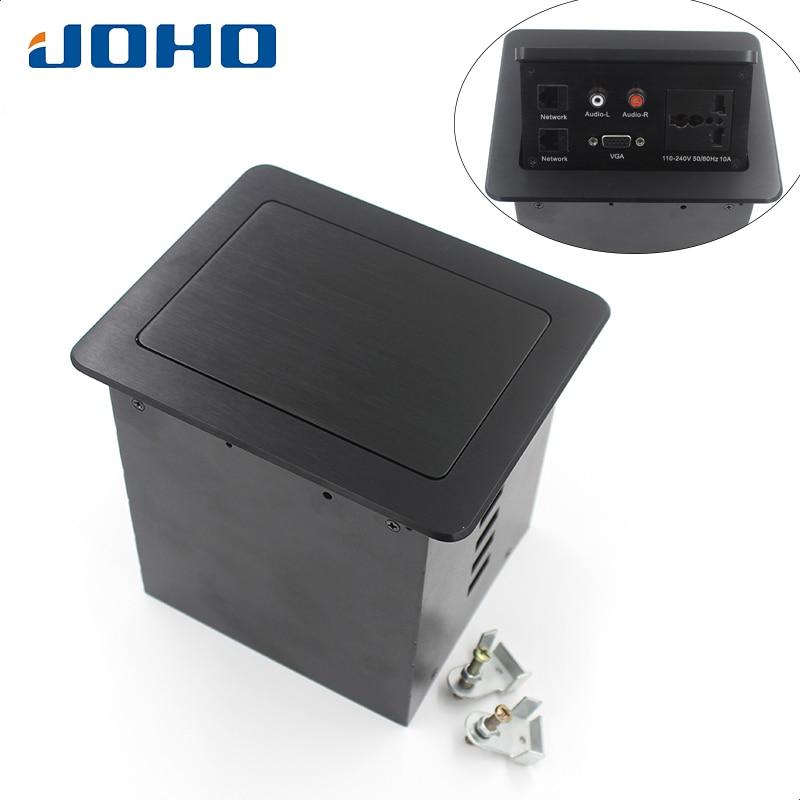 JOHO 10A prise de bureau Table prises Pop-up prise universelle, 2 Datas, VGA, Audio-L & audio-r insère prise de courant de bureau
