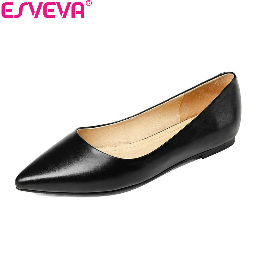 ESVEVA 2018 Women Pumps Western Style Slip on Cow Leather Low Heels Concise Pointed Toe Square Heels Shoes for Women Size 34-42 esveva 2018 women pumps elegant butterfly knot pointed toe square high heels pumps suede slip on pumps women shoes size 34 39
