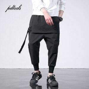 Image 1 - 新西洋ディアブロスタイルのファッション個性サイドリボンメンズジョガーヒップホップ秋カジュアルストリート男性ハーレムパンツ
