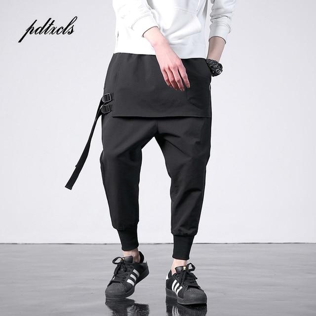 Новый западный Diablo Стиль Мода индивидуальность сбоку ленты для мужчин's Jogger мотобрюки хип хоп осень повседневное Street Мужской шаровары