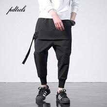 New Western Diablo สไตล์แฟชั่นริบบิ้นด้านข้างผู้ชาย Jogger กางเกง Hip Hop ฤดูใบไม้ร่วง Casual Street ชาย Harem กางเกง