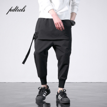 pdtxcls Western Diablo Style Individuality Side Ribbon Men's Jogger Trousers Hip Hop