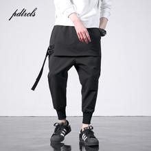 Nowa moda w stylu zachodnim Diablo indywidualność boczna wstążka męskie spodnie do joggingu Hip Hop jesień Casual Street męskie spodnie Harem tanie tanio pdtxcls Spodnie krzyżowe Elastan Bawełna Midweight SS1911 2 165 - 2 887 Pełnej długości Mężczyźni REGULAR Suknem