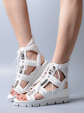 2017 Summer New Open Toe Studed Wedge Sandals  Lace Up Cut-outs Gladiator Sandals Fashion Summer Sporty Shoes Women