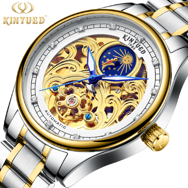 цена на KINYUED Mechanical Watches Men Skeleton Watch Automatic Mechanical Mens Watches Waterproof Self-winding Clock Stainless Steel