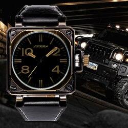 SINOBI Military Sports Square Watch Men Leather Watches Top Luxury Brand Male Geneva Quartz Clock Marines Relogio Masculino Saat