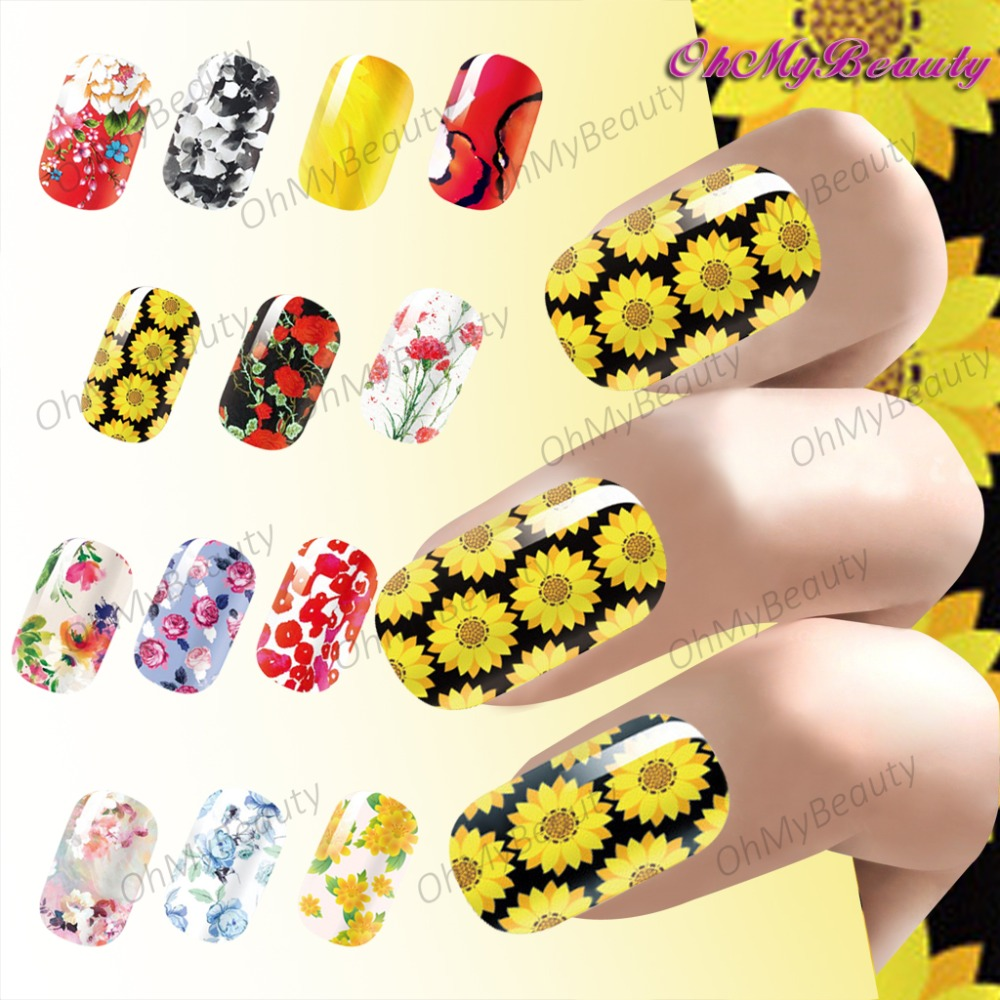New Beauty Charming Flowers Nail Wrap Sticker Full Self Adhesive ...