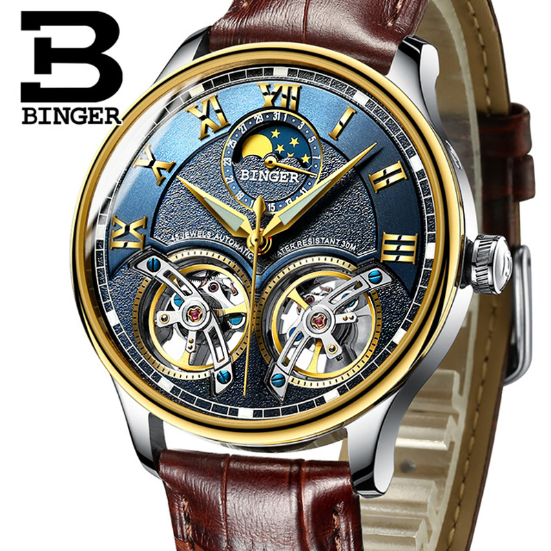 Mechanical watch Top Brand BINGER Double Tourbillon Automatic Watch Men Leather Strap Moon phase 24 hours Luminous ClockMechanical watch Top Brand BINGER Double Tourbillon Automatic Watch Men Leather Strap Moon phase 24 hours Luminous Clock