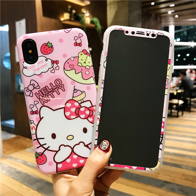 wholesale dealer 2a167 d127b US $7.73 14% OFF|For iPhone X kitty Case + screen protector Cartoon Hello  kt cat smooth TPU Cover for iPhone 10 8 7 6 6s plus Tempered Glass film-in  ...