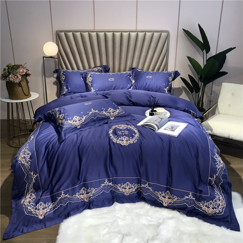 Luxury Royal Gold Embroidery 100S Tencel Silk Bedding Set Blue Duvet Cover Bed Linen sheet Pillowcase Queen King Size 4/5Pcs