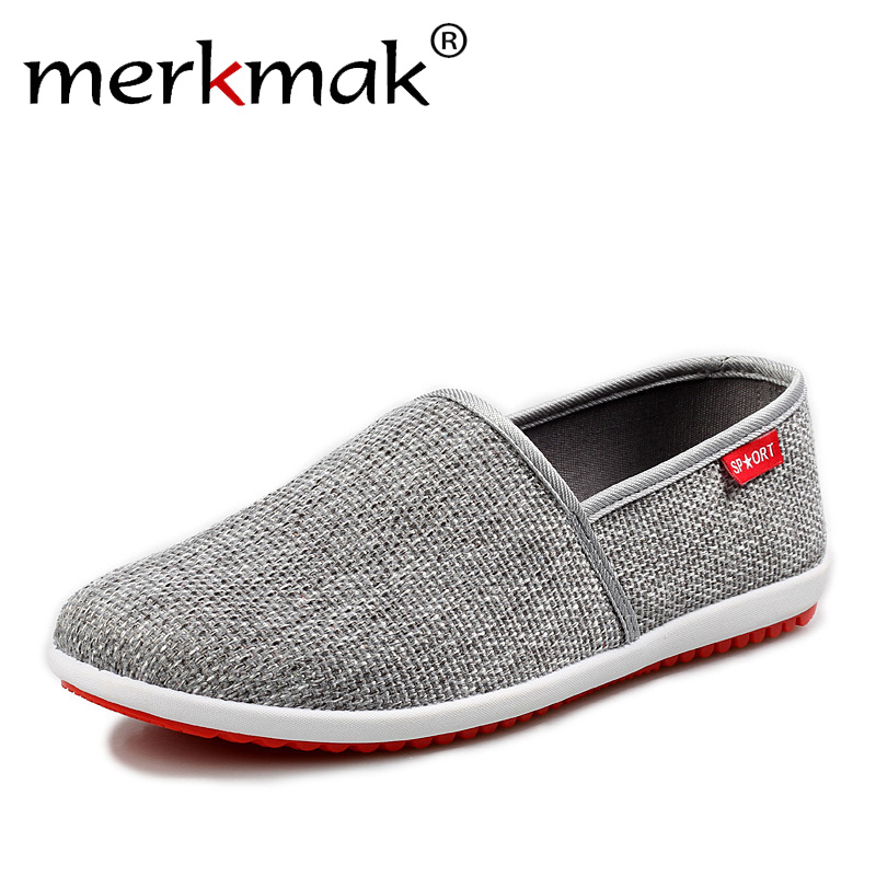 Merkmak 2018 New Breathable Men Hemp Summer Loafers Comfort Fashion Knitted Light Soft Men Shoes Casual Driving Footwear