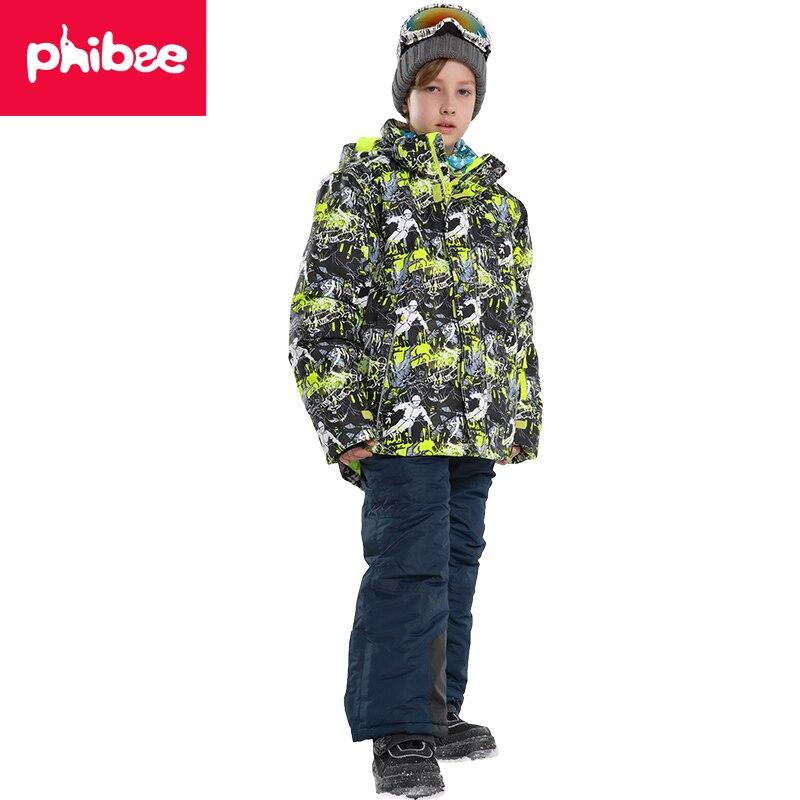 Phibee New Arrivals Boys Ski Suit Ski Jacket Kids Outdoor Winter Waterproof Windproof Warm Snowboard Set suitable -20-30 degree phibee girls ski jacket windproof waterproof kids ski jacket 8015 free shipping