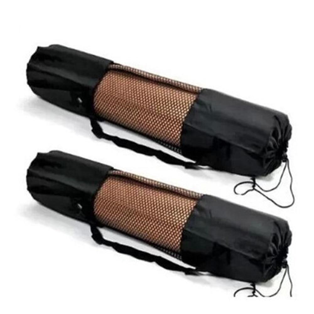 1PC Black Portable Yoga Mat Bag Polyester Nylon Mesh Black Backpack For Health Beautity Adjustable Sports Carry Bags