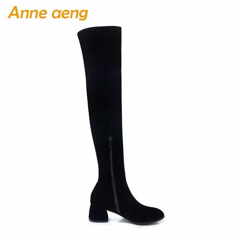 43 Noir Grande Femmes Cuisse 33 Nouveau Dames Chaussures Automne 2019 Haute Bottes Genou Taille Le Sexy Zip Noires Hiver Sur De Neige hsdtQr