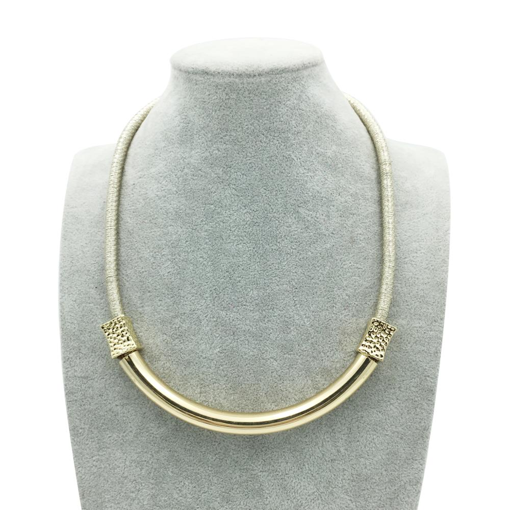 Simple Gold Color Copper Tube Choker Necklace Fashion Wire Rope ...