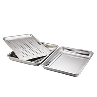 High Quality Stainless Steel Food Tray Double Layer Can Be Drain Basin For Fruit And Vegetable