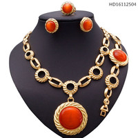 YULAILI Jewelry Sets for Women Nigerian Necklace African Beads Accessories In Gold Color Wedding Luxury Party Costume