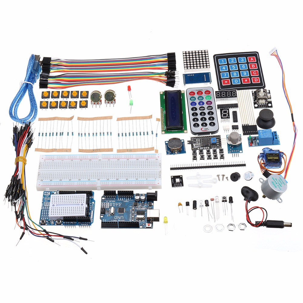 R3 LCD1602 Starter Kit Ultimate UNO With Keypad Servo Motor Gas Relay RTC Module For Arduino frree shipping top selling high qualiy uno r3 starter kit 1602 lcd dot matrix breadboard led resistor hot selling
