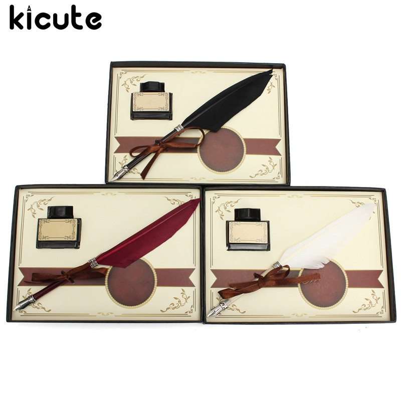 Kicute Retro Swan Feather Quill Metal Nib Dip Pen Writing Ink Set with Gift Box Stationery Antique Fountain Pen Wedding Gift kicute vintage green goose feather quill pen fountain pens metal nibs dip writing ink set stationery gift box with 5 nib supply
